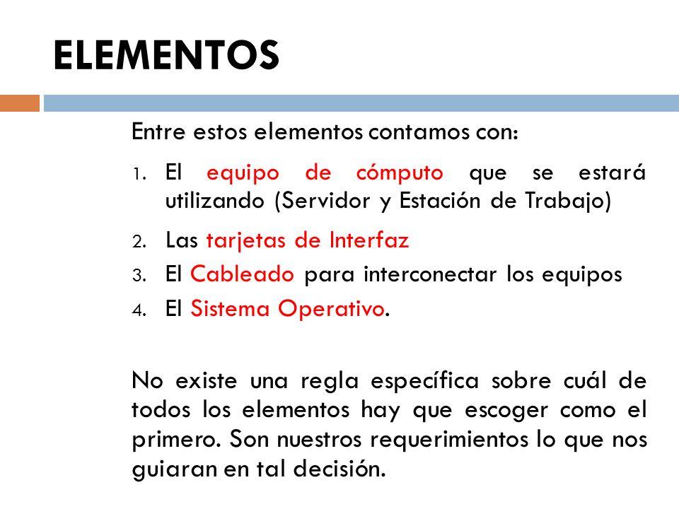 ELEMENTOS Entre estos elementos contamos con: