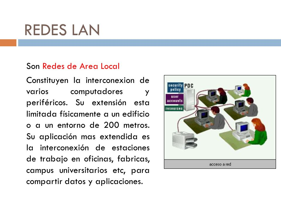 REDES LAN Son Redes de Area Local