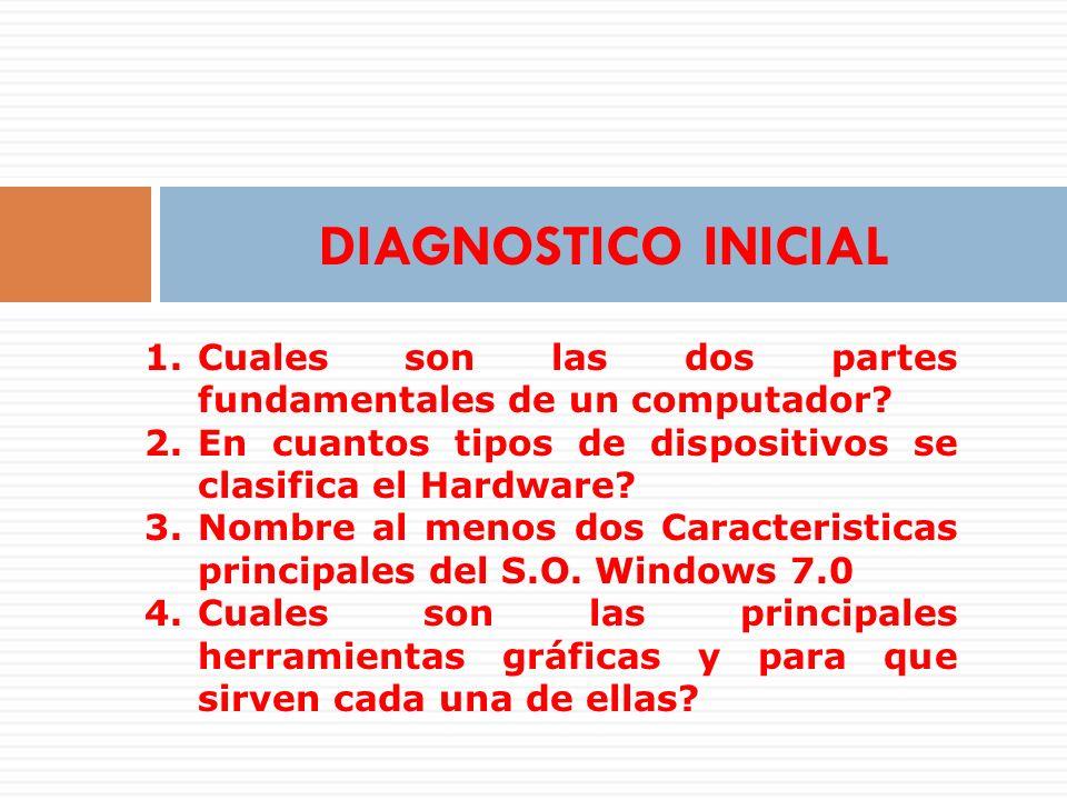 DIAGNOSTICO INICIAL Cuales son las dos partes fundamentales de un computador En cuantos tipos de dispositivos se clasifica el Hardware