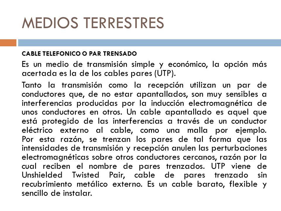 MEDIOS TERRESTRES CABLE TELEFONICO O PAR TRENSADO.