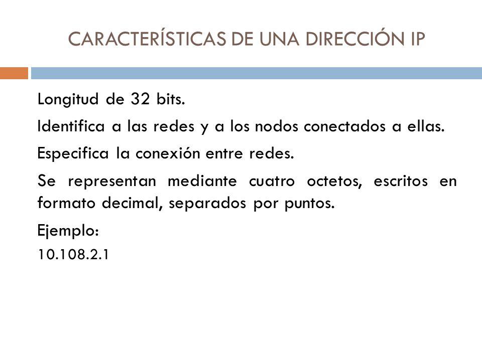 CARACTERÍSTICAS DE UNA DIRECCIÓN IP