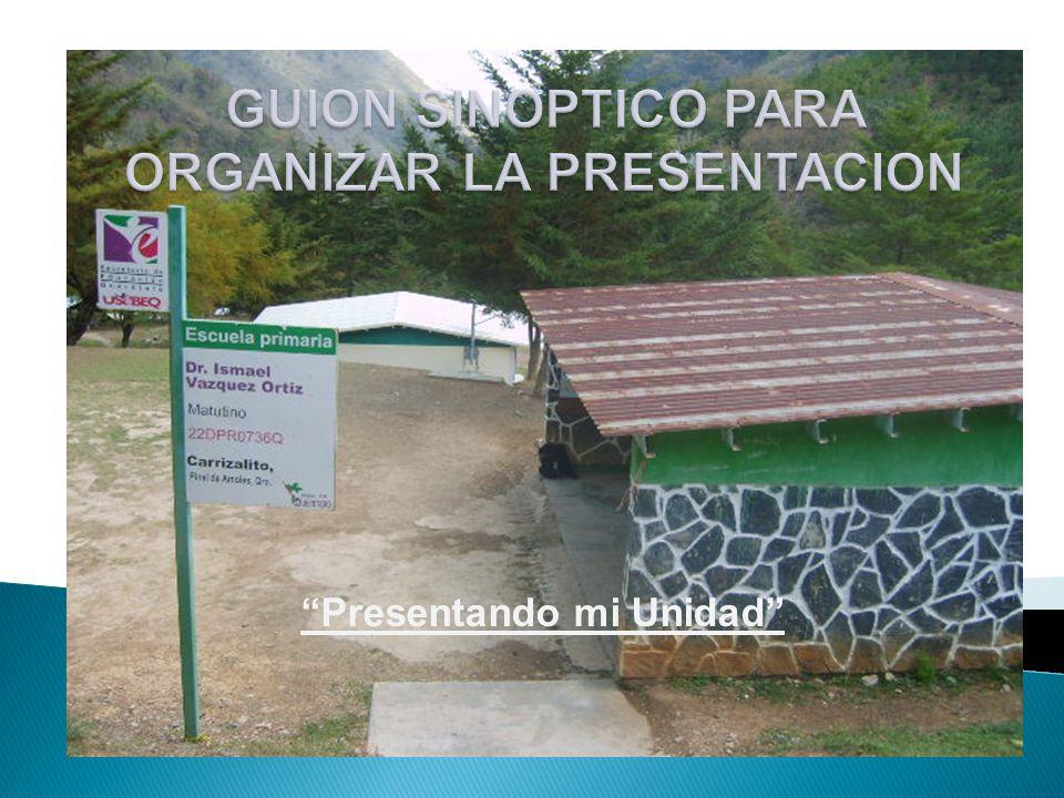 GUION SINOPTICO PARA ORGANIZAR LA PRESENTACION