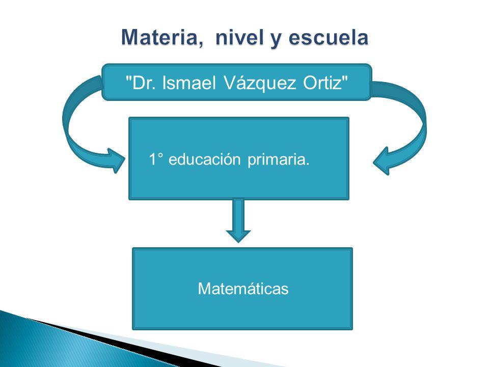 Materia, nivel y escuela