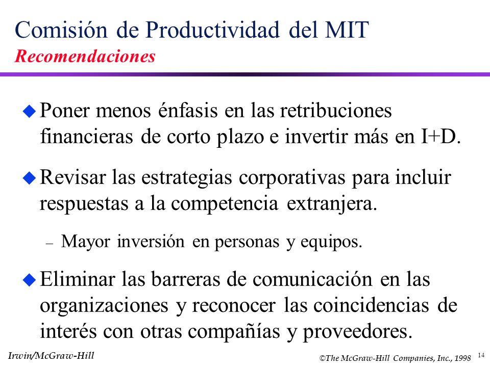 Comisión de Productividad del MIT Recomendaciones