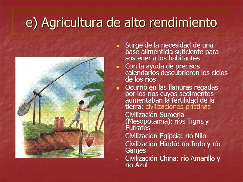 e) Agricultura de alto rendimiento