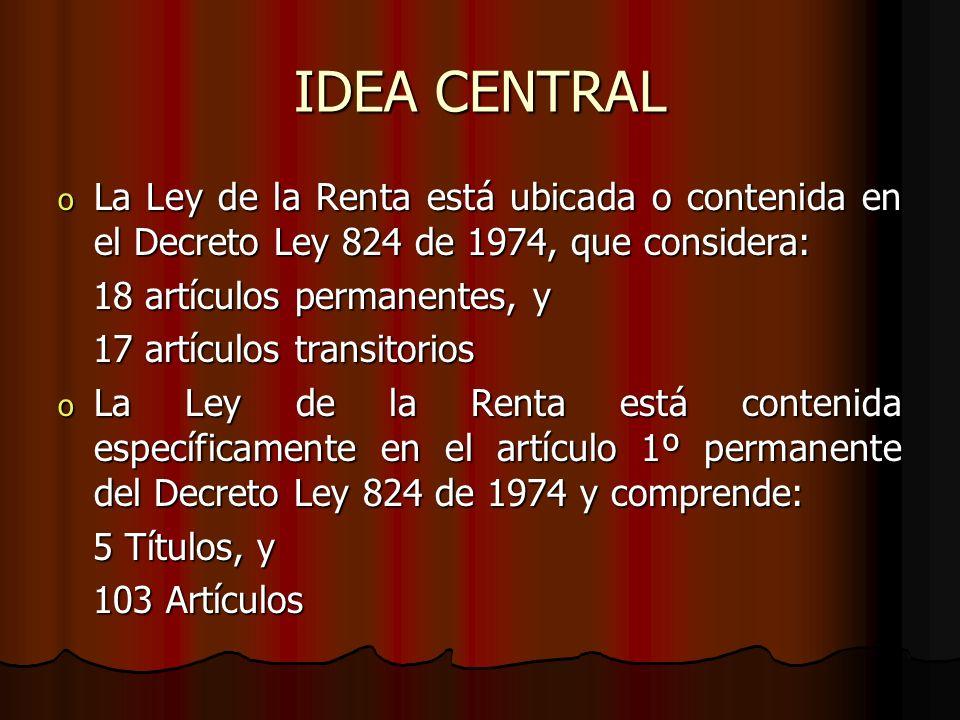 IDEA CENTRAL La Ley de la Renta está ubicada o contenida en el Decreto Ley 824 de 1974, que considera: