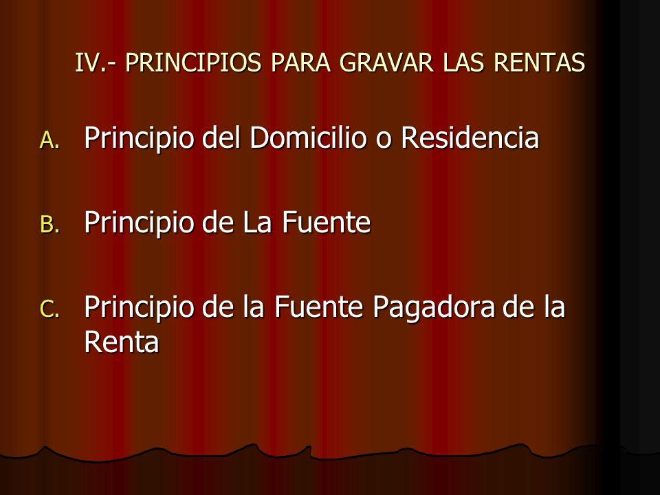 IV.- PRINCIPIOS PARA GRAVAR LAS RENTAS