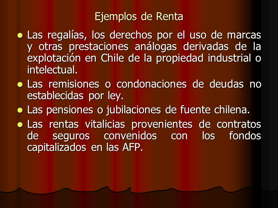 Ejemplos de Renta