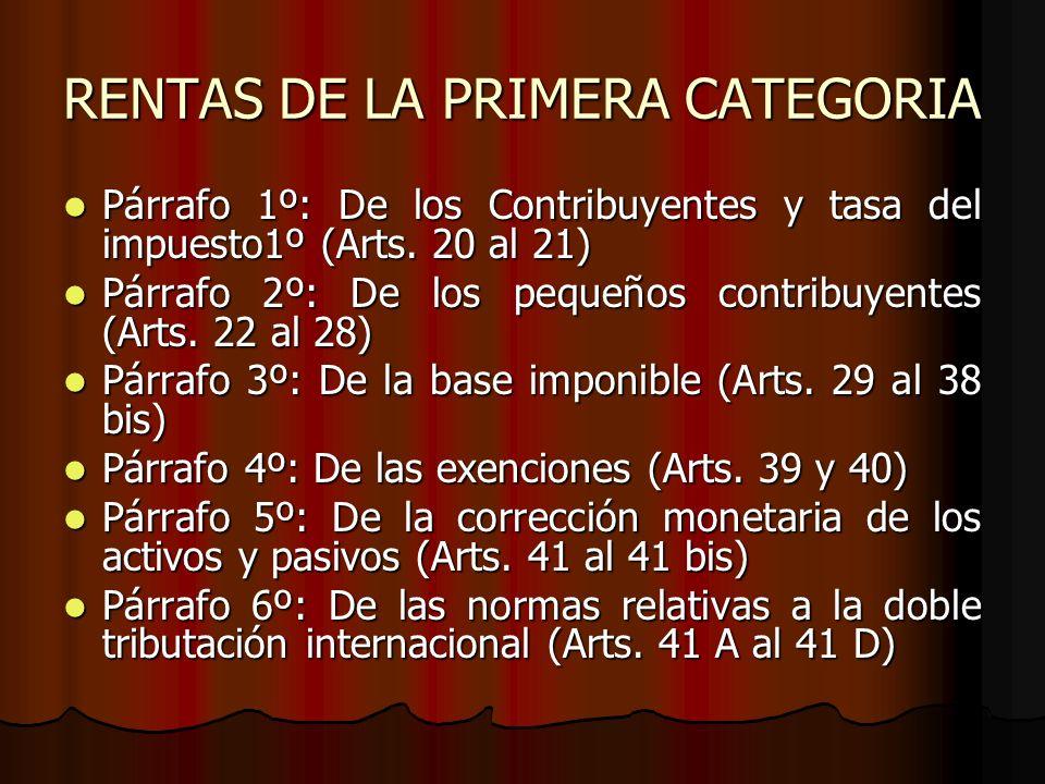RENTAS DE LA PRIMERA CATEGORIA
