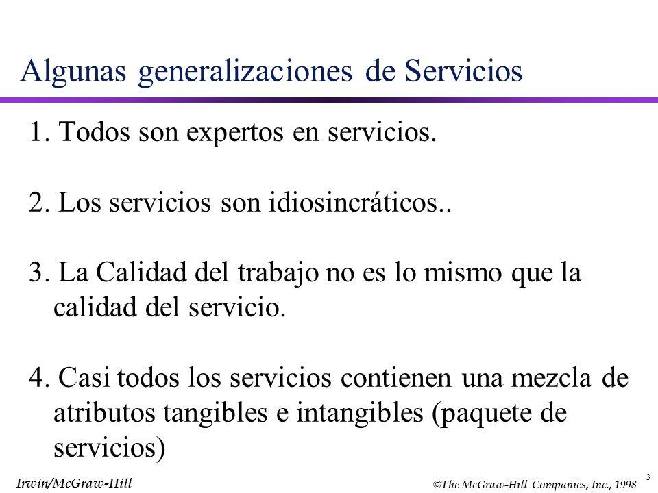 Algunas generalizaciones de Servicios