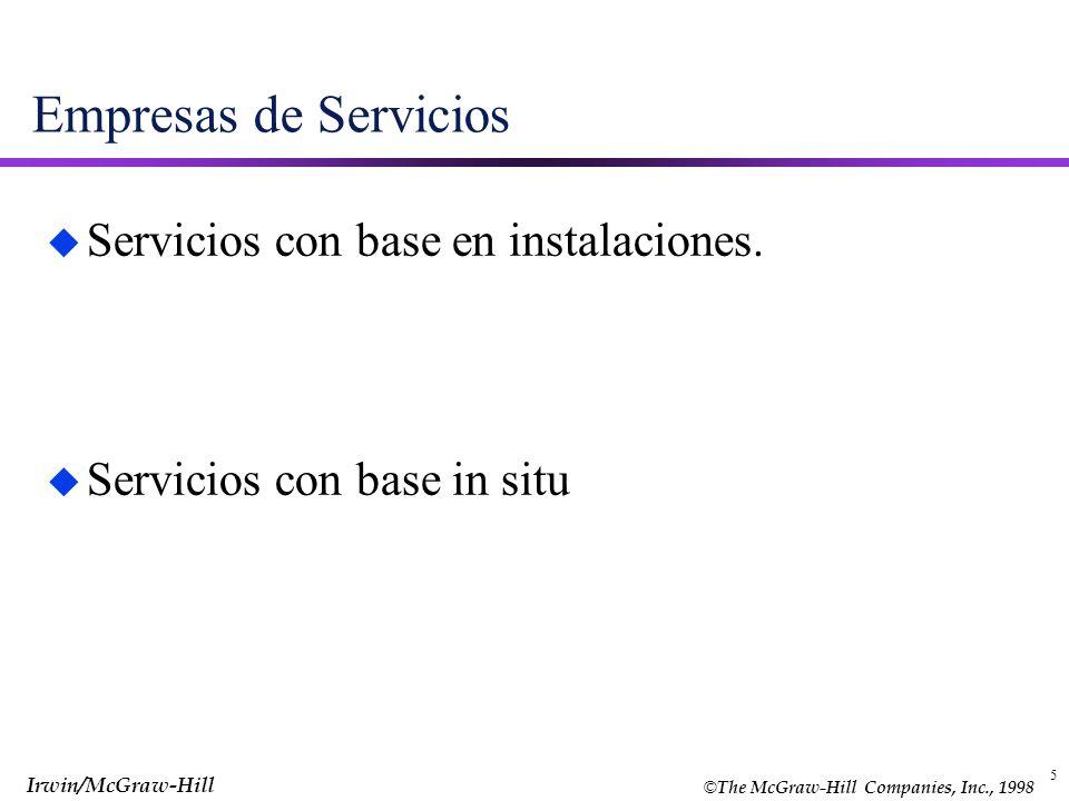 Empresas de Servicios Servicios con base en instalaciones.