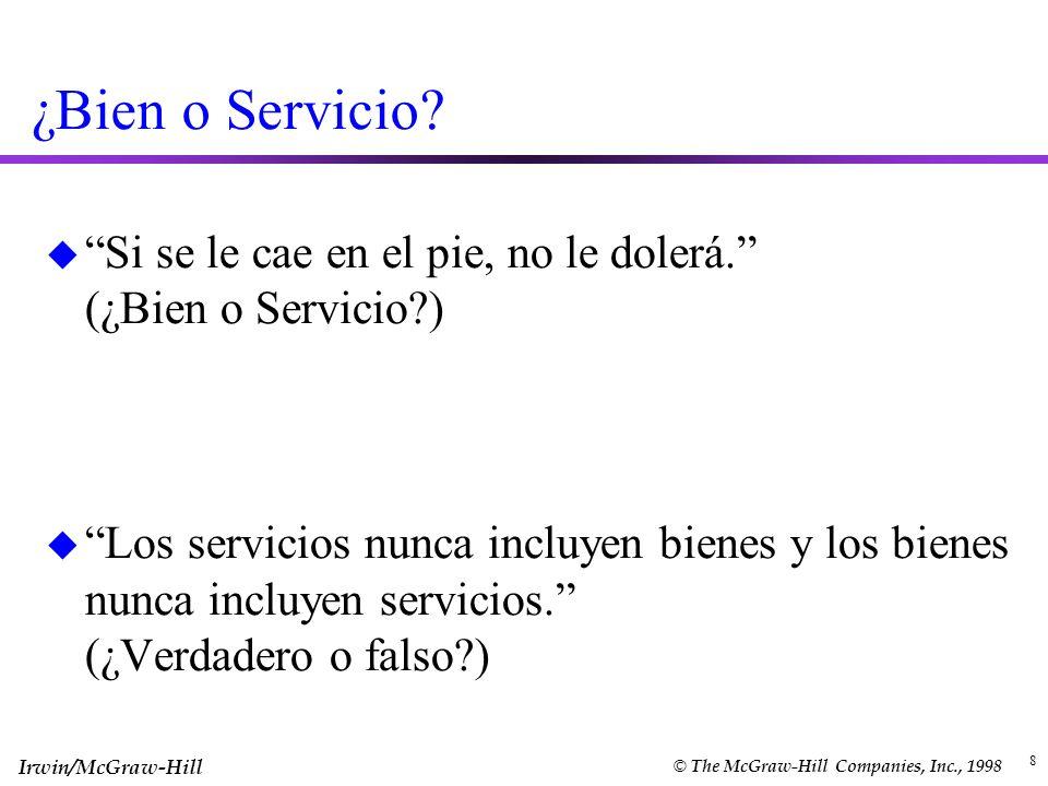 ¿Bien o Servicio Si se le cae en el pie, no le dolerá. (¿Bien o Servicio )