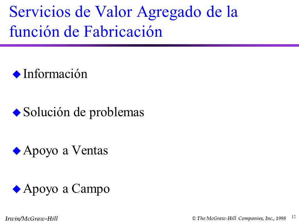 Servicios de Valor Agregado de la función de Fabricación