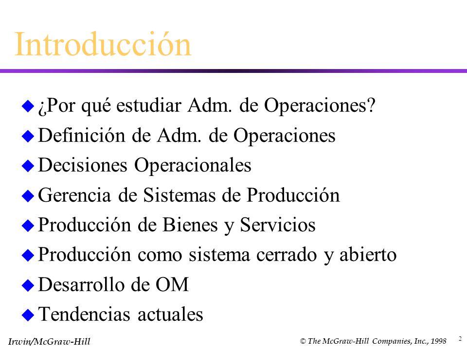 Introducción ¿Por qué estudiar Adm. de Operaciones