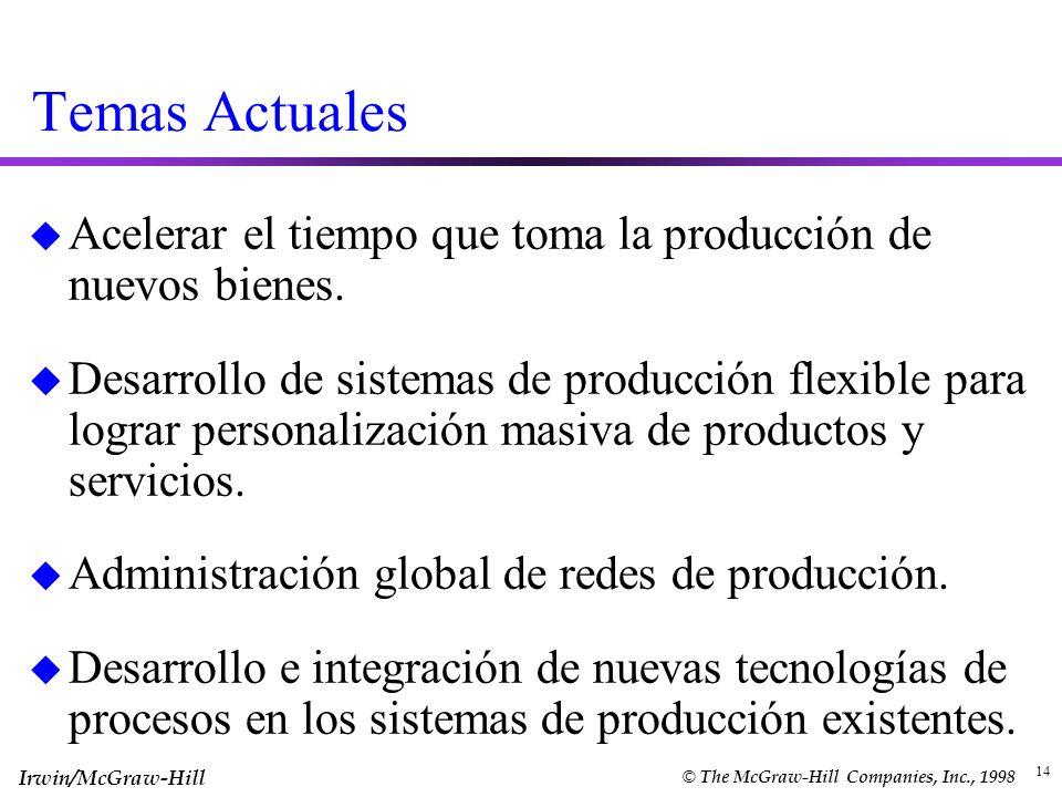 Temas ActualesAcelerar el tiempo que toma la producción de nuevos bienes.