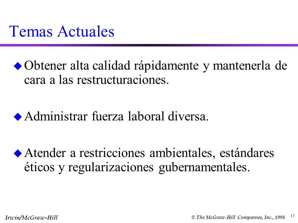 Temas ActualesObtener alta calidad rápidamente y mantenerla de cara a las restructuraciones. Administrar fuerza laboral diversa.