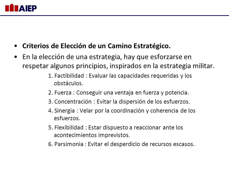 Criterios de Elección de un Camino Estratégico.