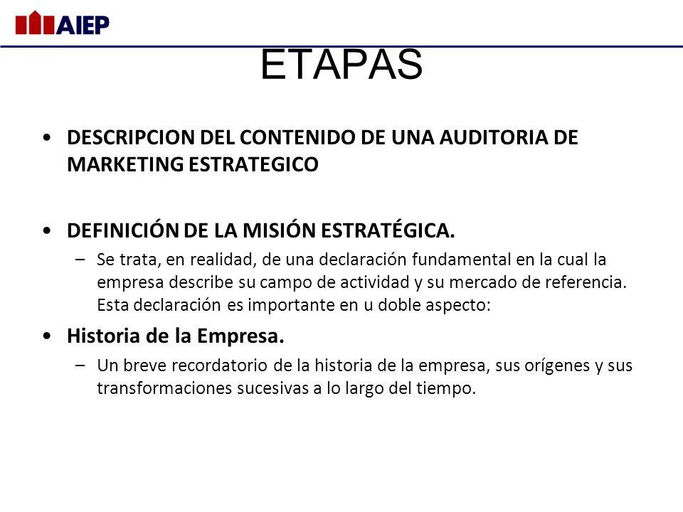 ETAPAS DESCRIPCION DEL CONTENIDO DE UNA AUDITORIA DE MARKETING ESTRATEGICO. DEFINICIÓN DE LA MISIÓN ESTRATÉGICA.