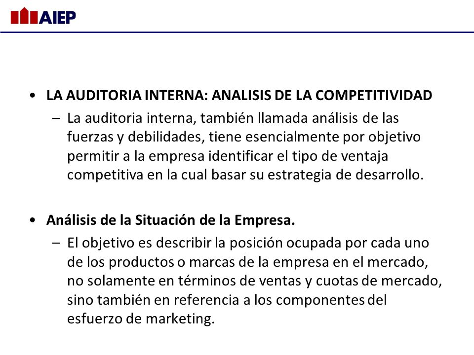 LA AUDITORIA INTERNA: ANALISIS DE LA COMPETITIVIDAD