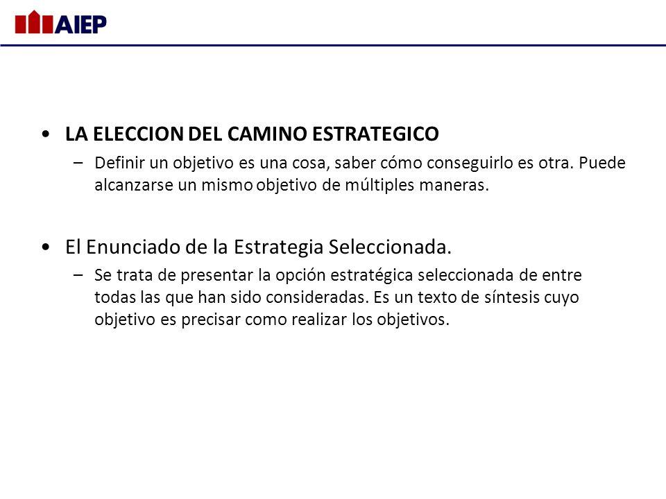 LA ELECCION DEL CAMINO ESTRATEGICO