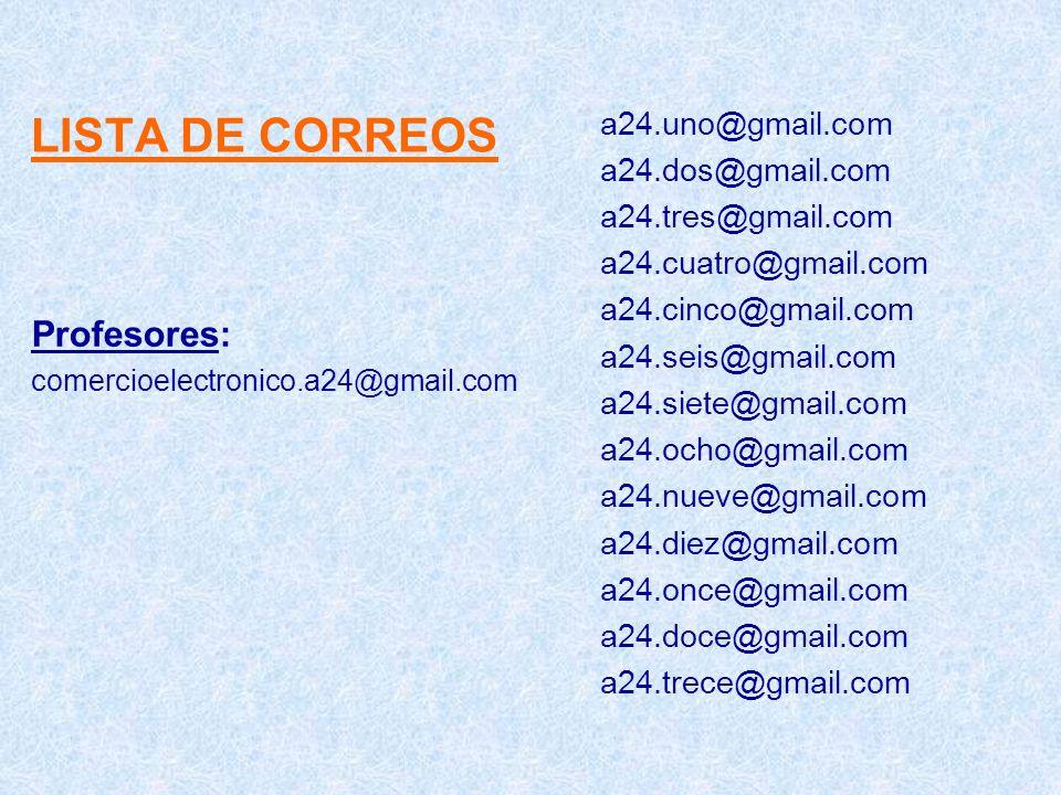 LISTA DE CORREOS Profesores: a24.uno@gmail.com a24.dos@gmail.com