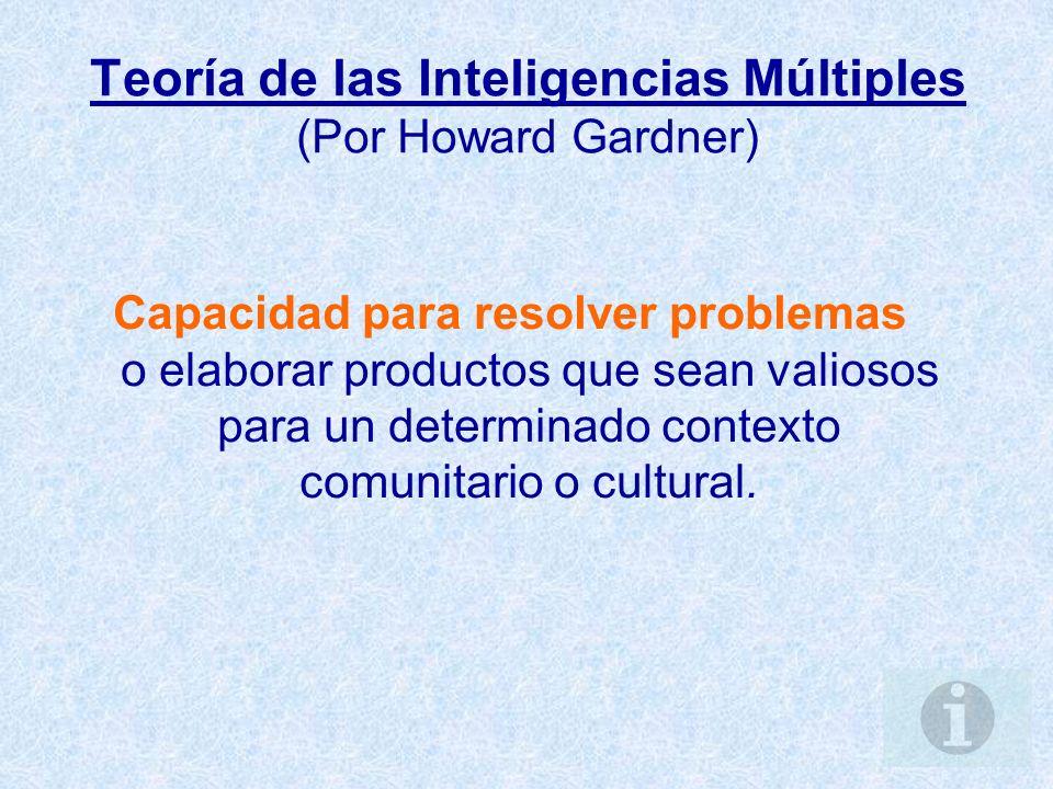 Teoría de las Inteligencias Múltiples (Por Howard Gardner)