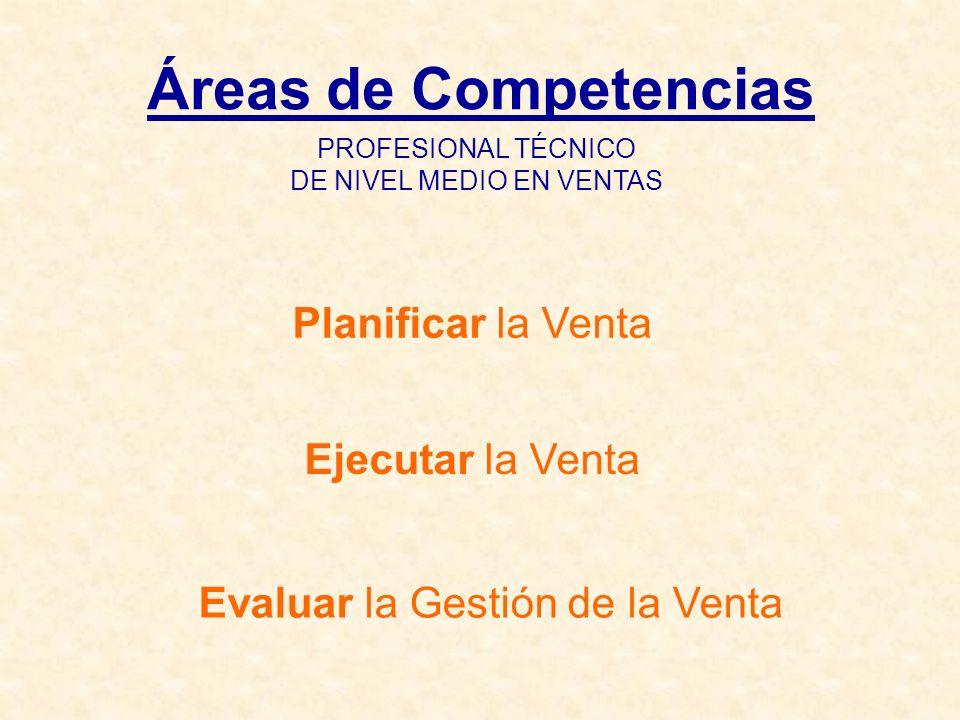 Áreas de Competencias Planificar la Venta Ejecutar la Venta