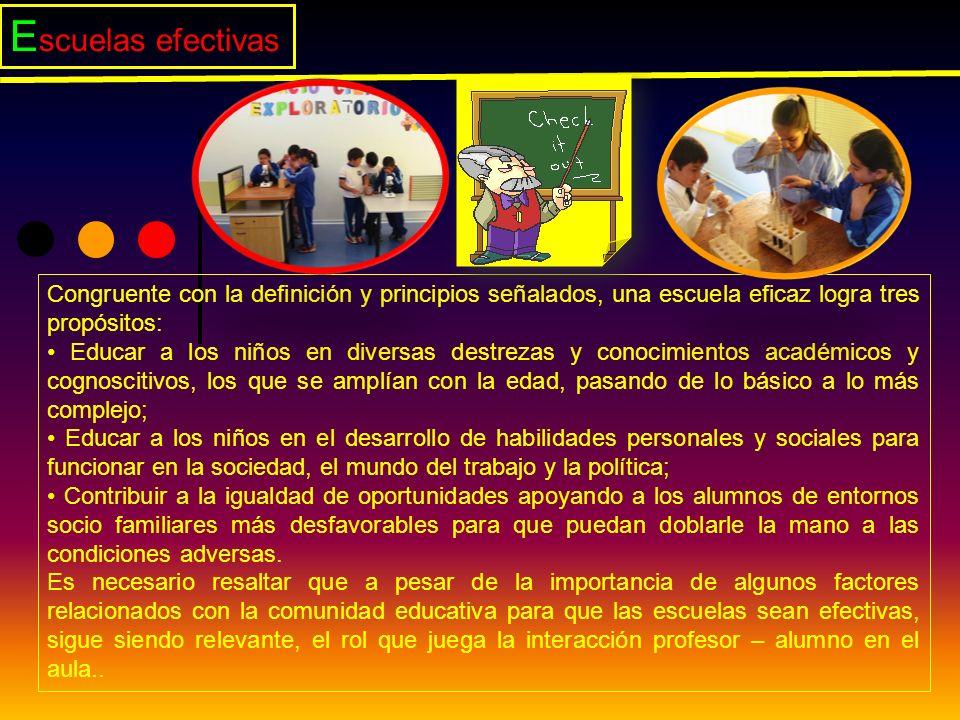 Escuelas efectivas Congruente con la definición y principios señalados, una escuela eficaz logra tres propósitos: