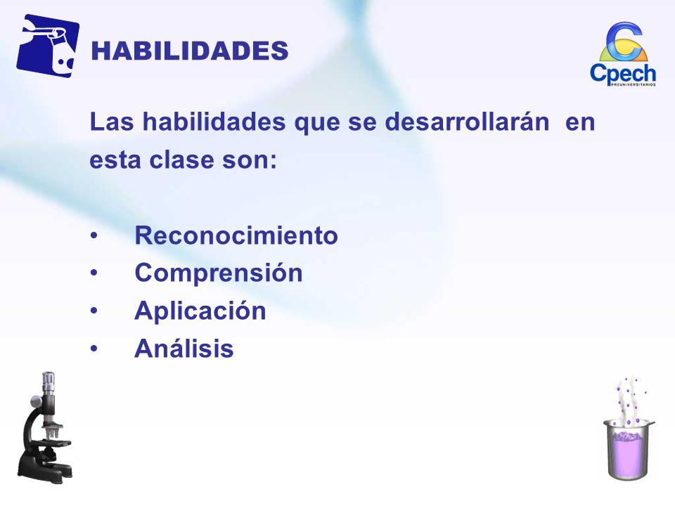 HABILIDADES Las habilidades que se desarrollarán en. esta clase son: Reconocimiento. Comprensión.