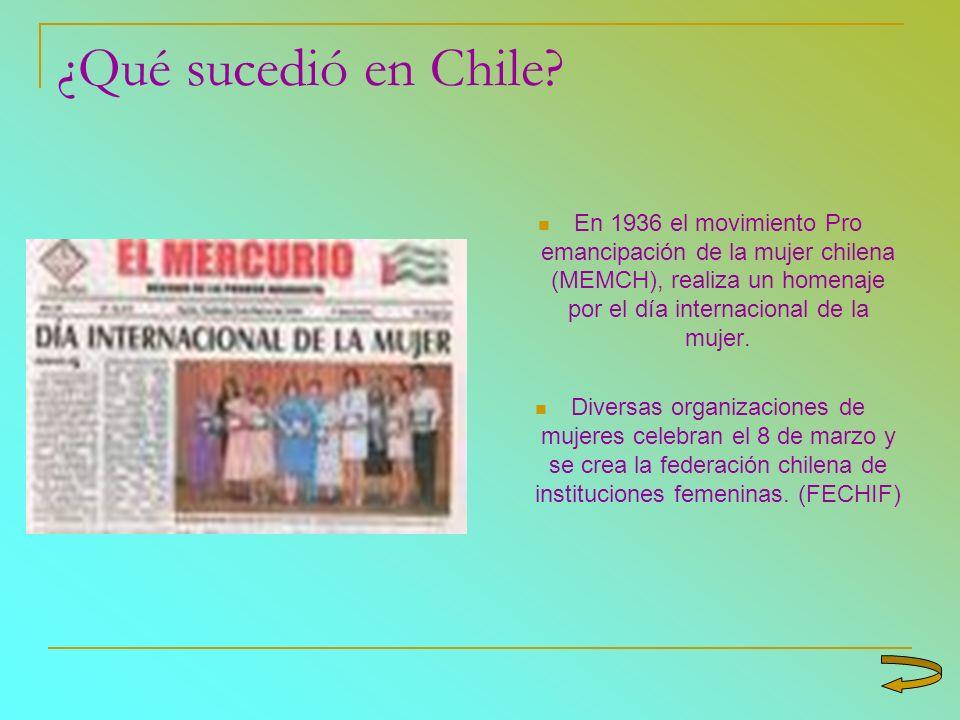 ¿Qué sucedió en Chile En 1936 el movimiento Pro emancipación de la mujer chilena (MEMCH), realiza un homenaje por el día internacional de la mujer.