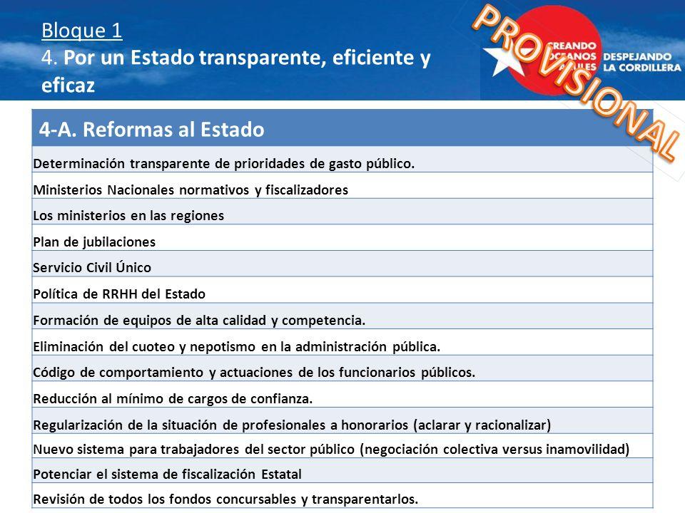 Bloque 1 4. Por un Estado transparente, eficiente y eficaz