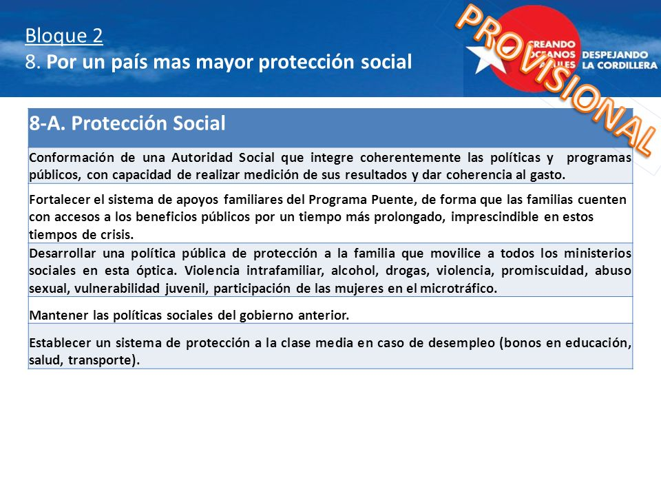 Bloque 2 8. Por un país mas mayor protección social