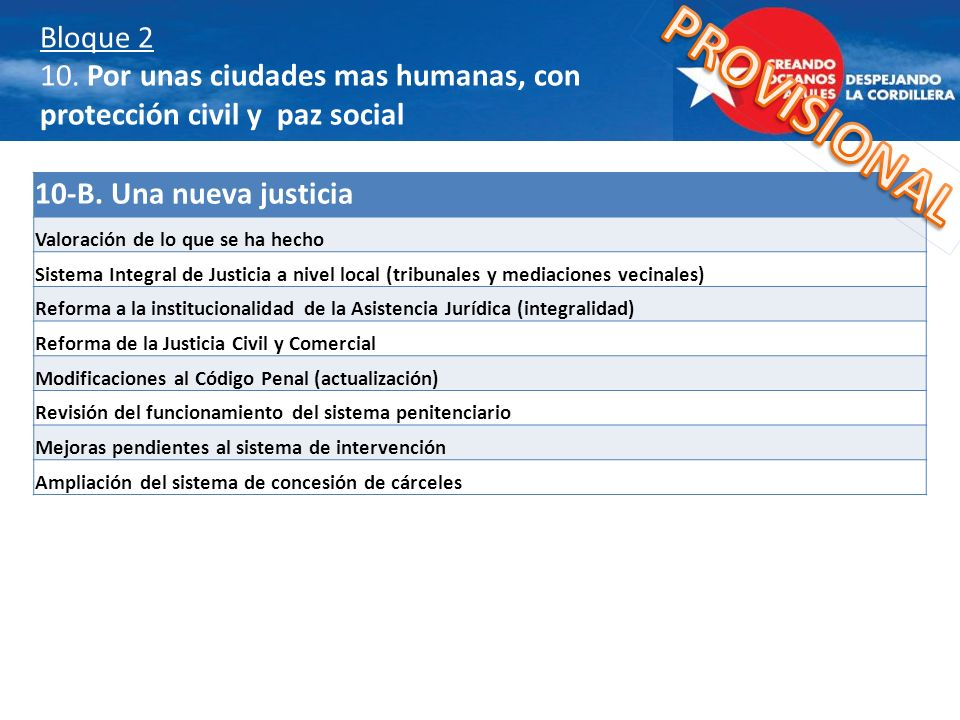 Bloque 2 10. Por unas ciudades mas humanas, con protección civil y paz social