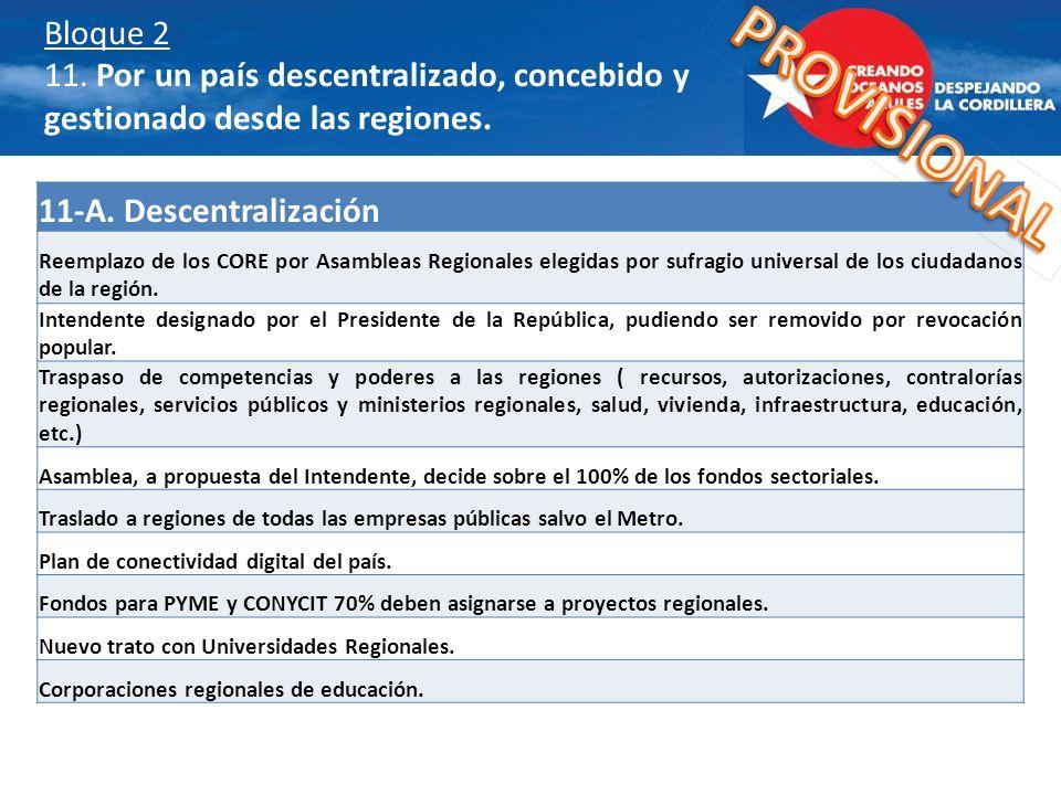 Bloque 2 11. Por un país descentralizado, concebido y gestionado desde las regiones.