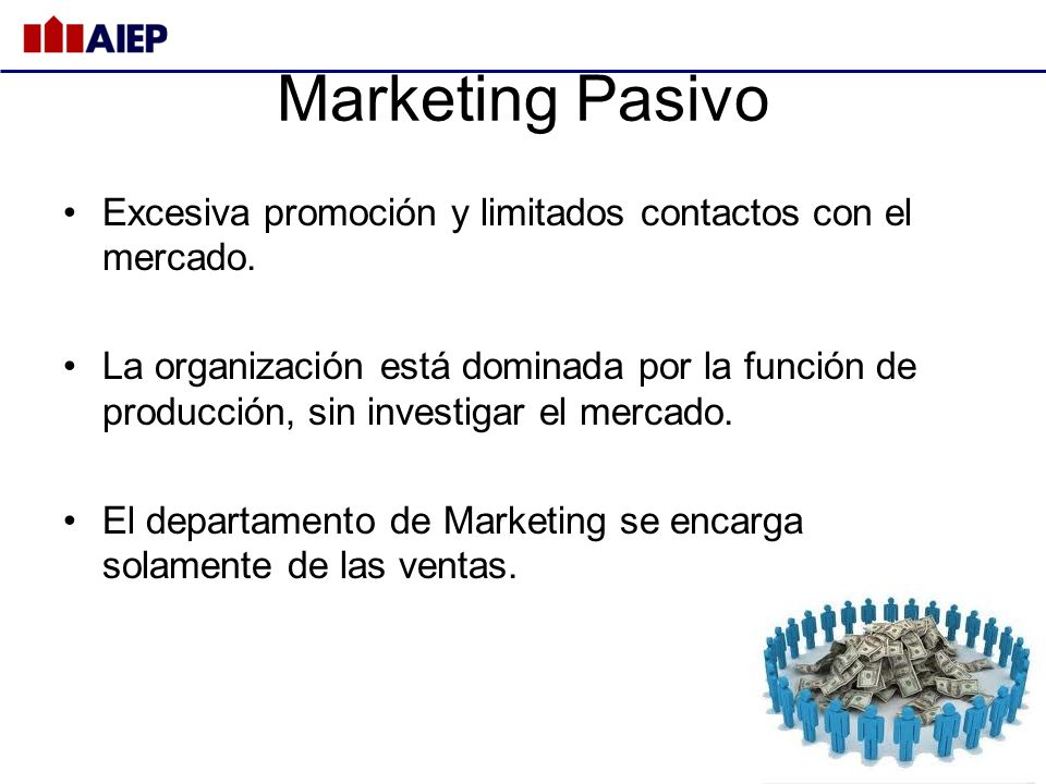 Marketing Pasivo Excesiva promoción y limitados contactos con el mercado.