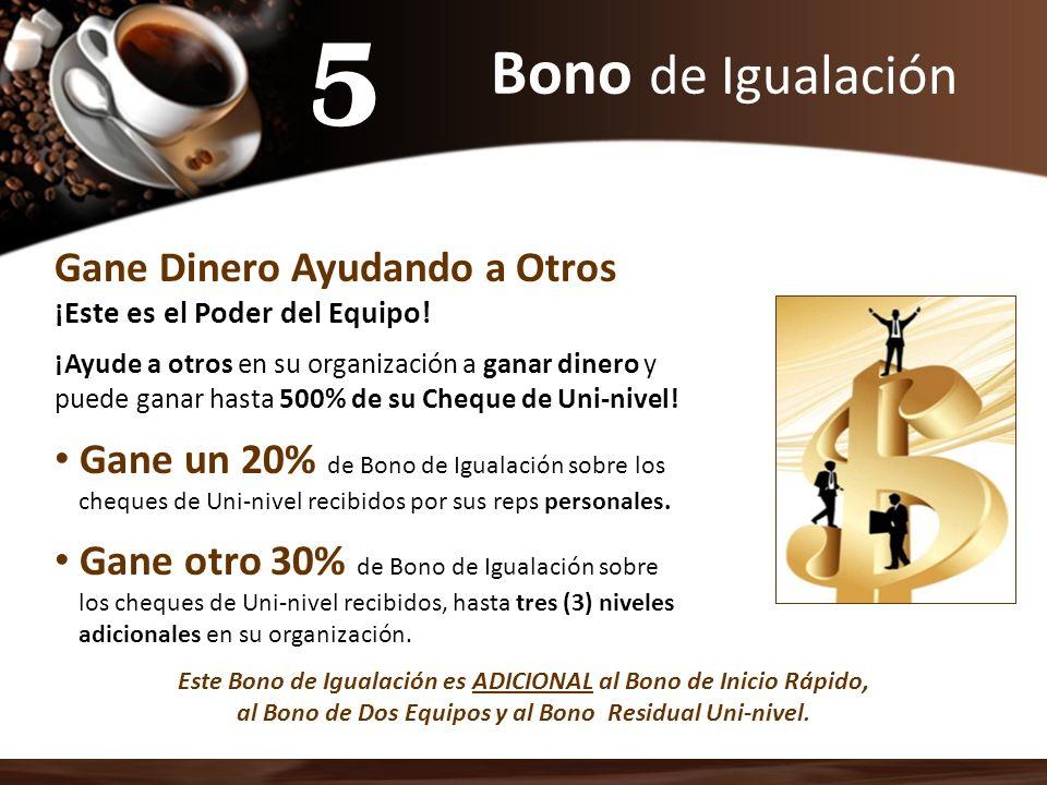 5 Bono de Igualación Gane Dinero Ayudando a Otros