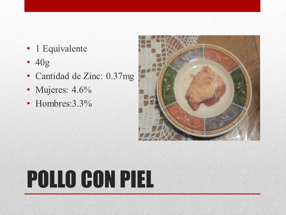 POLLO CON PIEL 1 Equivalente 40g Cantidad de Zinc: 0.37mg