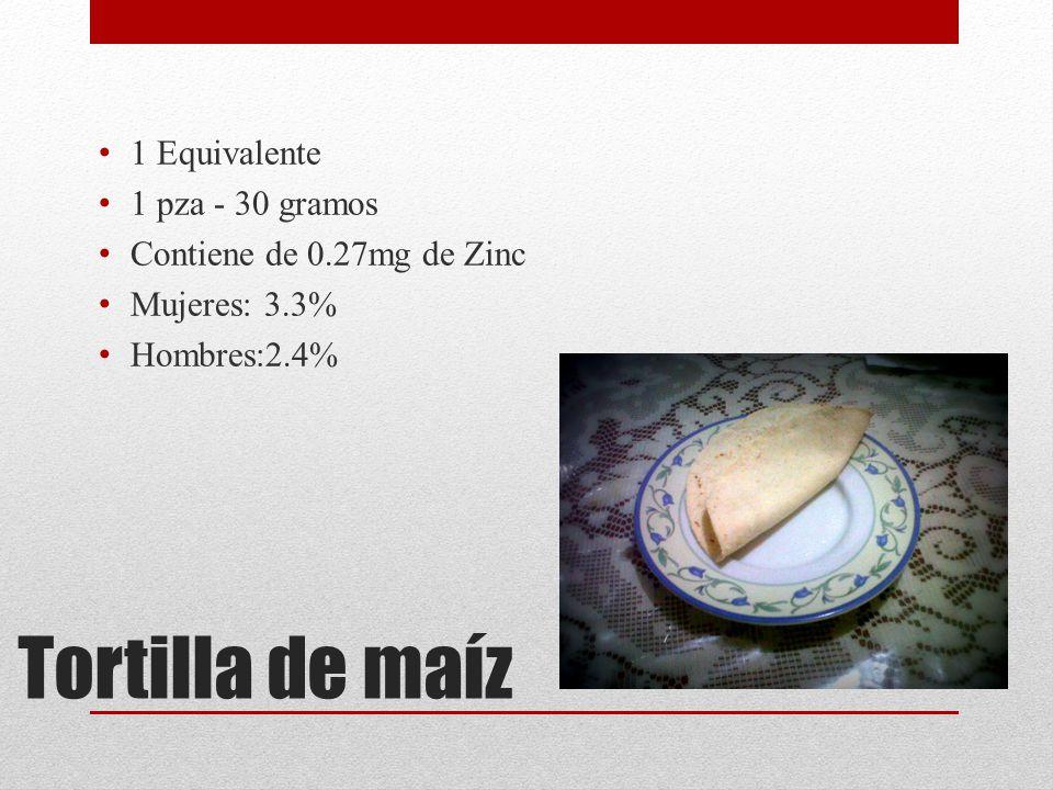 Tortilla de maíz 1 Equivalente 1 pza - 30 gramos