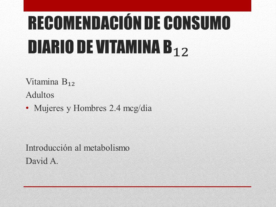 RECOMENDACIÓN DE CONSUMO DIARIO DE VITAMINA B₁₂
