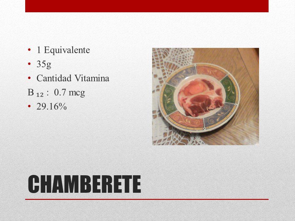 1 Equivalente 35g Cantidad Vitamina B ₁₂ : 0.7 mcg 29.16% CHAMBERETE