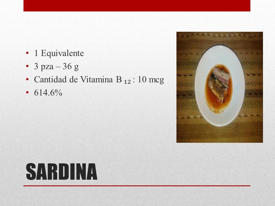 SARDINA 1 Equivalente 3 pza – 36 g Cantidad de Vitamina B ₁₂ : 10 mcg