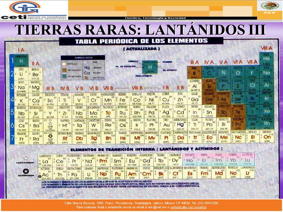 TIERRAS RARAS: LANTÁNIDOS III