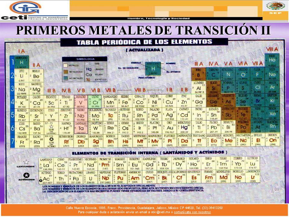 PRIMEROS METALES DE TRANSICIÓN II
