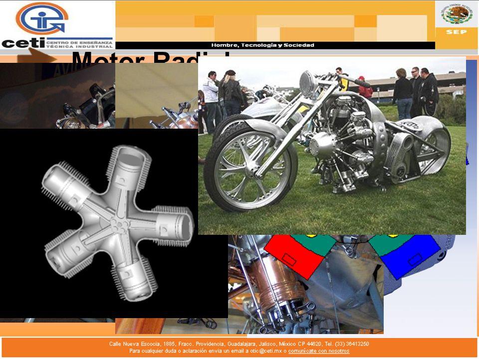 Motor RadialLos pistones van conectados alrededor del cigüeñal.