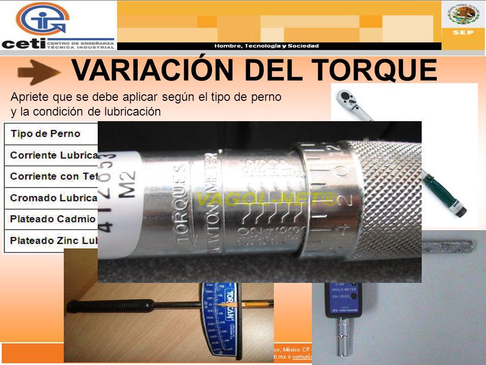 VARIACIÓN DEL TORQUE Apriete que se debe aplicar según el tipo de perno y la condición de lubricación.