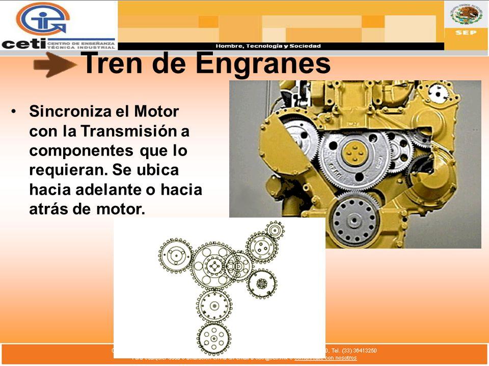 Tren de Engranes Sincroniza el Motor con la Transmisión a componentes que lo requieran.