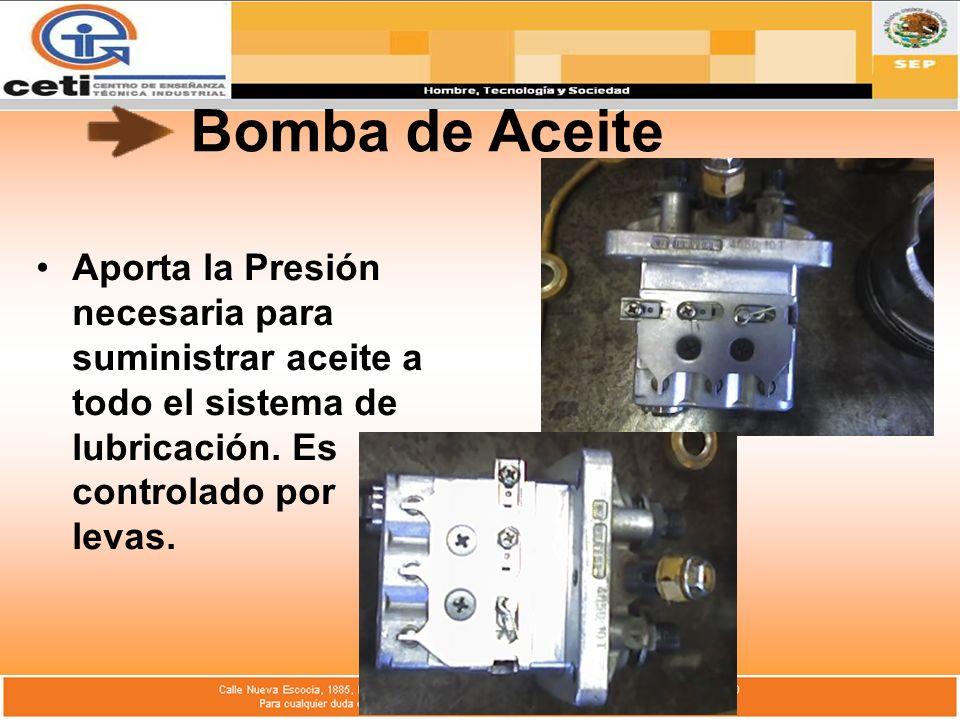 Bomba de Aceite Aporta la Presión necesaria para suministrar aceite a todo el sistema de lubricación.