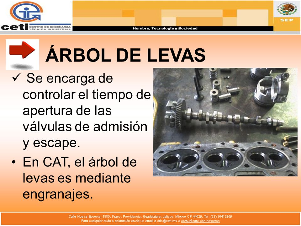 ÁRBOL DE LEVAS Se encarga de controlar el tiempo de apertura de las válvulas de admisión y escape.