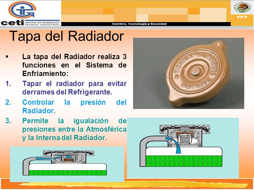 Tapa del Radiador La tapa del Radiador realiza 3 funciones en el Sistema de Enfriamiento: Tapar el radiador para evitar derrames del Refrigerante.