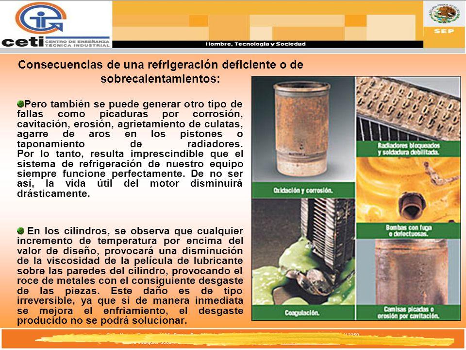 Consecuencias de una refrigeración deficiente o de sobrecalentamientos: